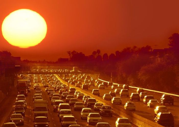 Cars on highway during hot summer