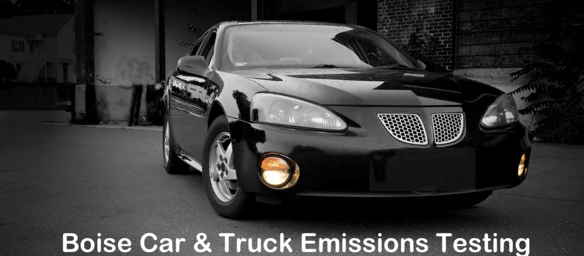 Black Car with Emissions Test Reference